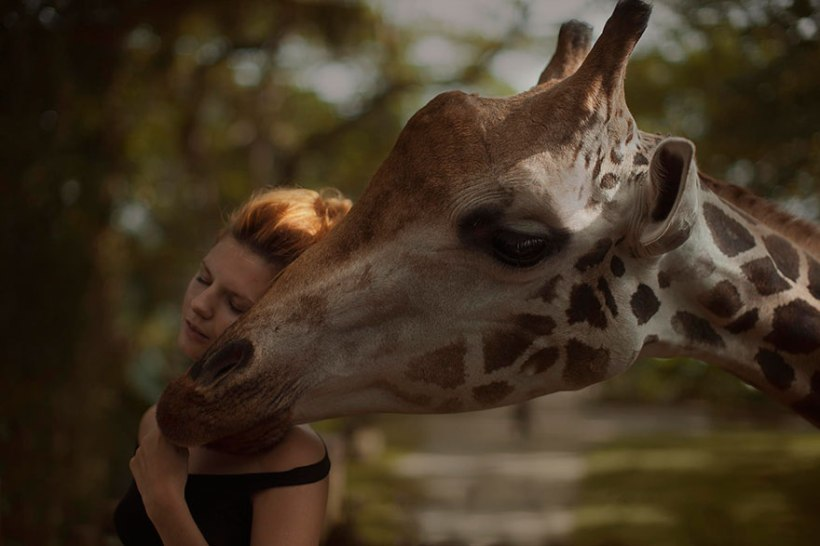 Model with giraffe by Katerina Plotnikova
