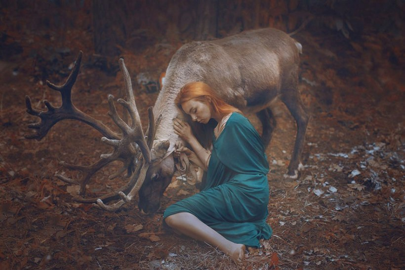 Model with elk by Katerina Plotnikova