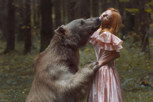 Model with bear by Katerina Plotnikova