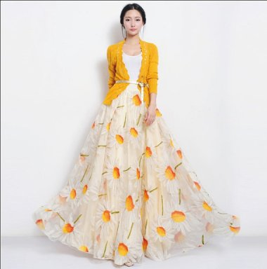 Summer formal daisy print skirt and cardigan by ChineseHut