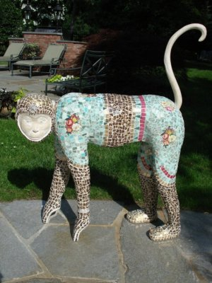 It's not every day you come across a mosaic monkey (with toe shoes on his hands?). $3,500 will get you this fine specimen from AnnReaDesigns.