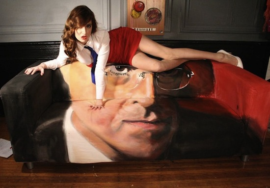Here's your big chance to sit on Stephen Colbert's face. For $27,200, you could be the proud owner of this Steven Colbert couch, which actually has its own video. By MattCharlan