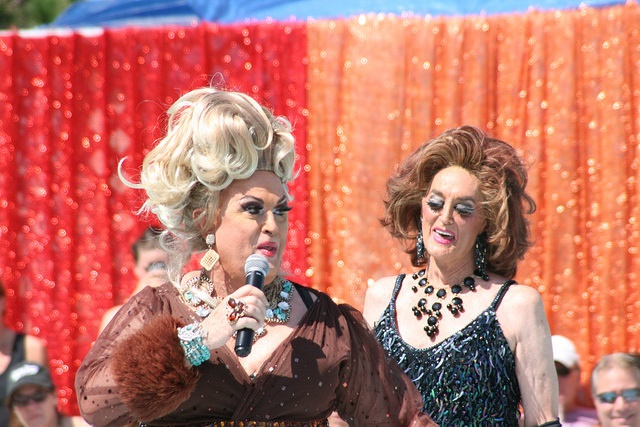 The oldest living Miss Fire Island winners, Charity Charles (1967) and Rita George (1968) kick off the fun.