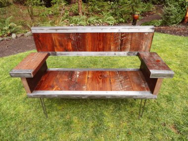 Glorious industrial reclaimed-wood bench by MtHoodWoodWorks