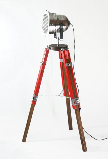 I never get tired of these tripod lamps. This red beauty is by ReclaimDesignEveri