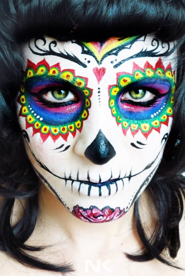 Rainbow Calavera sugar skull makeup for Mexican Day of the Dead