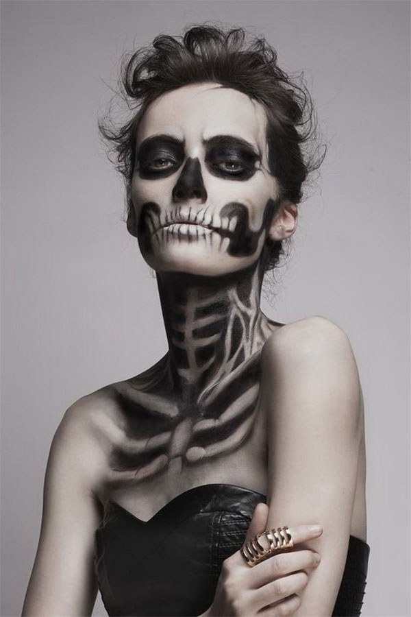 Black and white Calavera sugar skull makeup for Mexican Day of the Dead