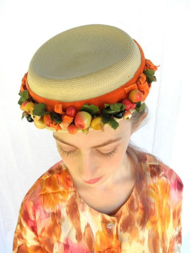 This vintage fruit hat is billed as being in perfect condition. Know why? NO ONE WOULD WEAR IT. Sold by JackpotJen.
