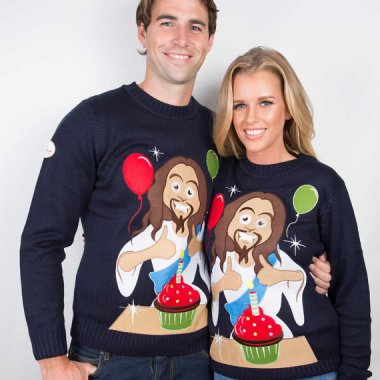 Happy birthday Jesus sweater which needs no color commentary by me. Crafted by FunkyXmasSweaters