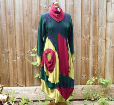 """This is almost too easy. Described as """"quirky"""" and """"upcycled,"""" this dress appears to know how tragic it is. By TailorTrash, who may very well be aware how ugly these clothes are"""