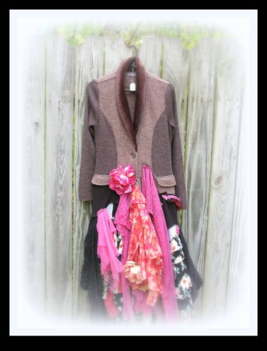 There are those keywords again: Boho chic, upcycled, Lagenlook. These are, apparently, words to be avoided at all costs. Inoffensive jacket with pink crap hanging off it by JacketsByJahne