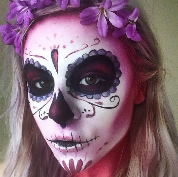 Sugar purple skull makeup photo forecast dress in everyday in 2019