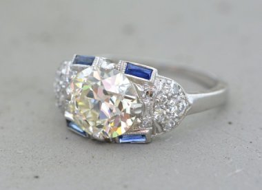 Let's start with a goodie. Here's an Edwardian engagement ring sold by PebbleAndPolish