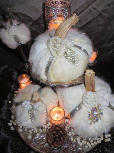 W the actual F? Fur pumpkin centerpiece. By OrnateSplendor who really hates rabbits