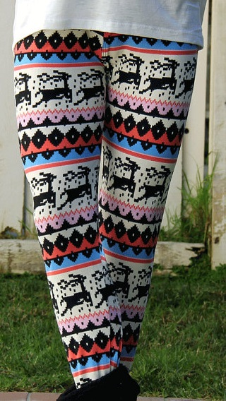 Ugly Christmas sweaters too subtle for you? Well why not pair them with these leggings? By AmandaSmithLtv who has gone so hard with the hipster irony, not even she knows if she's joking