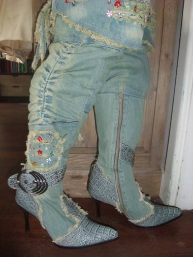 """These horrifying creations are called """"Gorgeous Designer Lace Up Corset Style Crystal Embelished Knee-High Fuax Snake Skin/Fur Washed Denim High Heel Boots"""" That does pretty well sum it up, minus the first two words. By the deluded ParrotAndPunchbowl"""