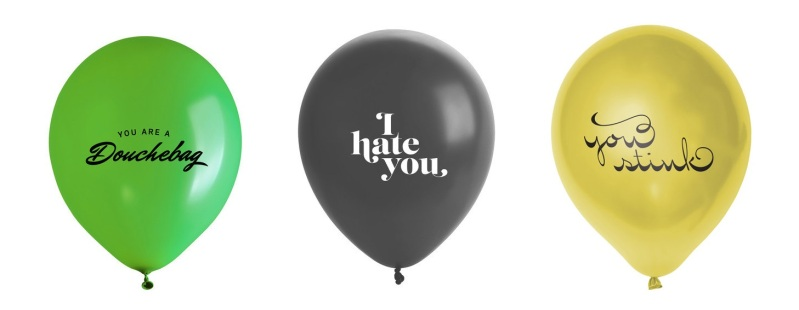 Have something nasty to say, but hate confrontation? Need to break it off, but don't want to be a bummer? Then these adorable Jerk Balloons by FairGoods could be just the thing!