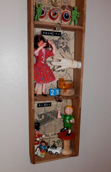 """""""Mixed media assemblage"""" is about all you can say about this piece of art which is, per the description, """"Sure to get some looks!"""" By SlipSlopSlap who needs to have his hot glue gun taken away"""