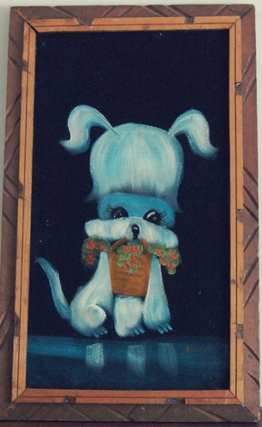No listing of vintage crap on Etsy would be complete without at least one velvet painting, and this one's a beaut. Sold by AccidentalCharm
