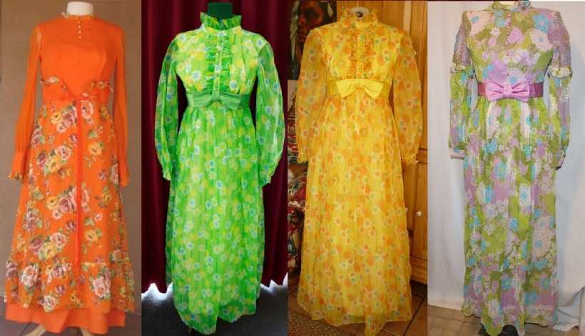 I was unable to narrow down the most hilarious vintage dress on Etsy, so I had to give you the worst four. From left to right, here are the links to the orange, the green, the yellow, and the lilac