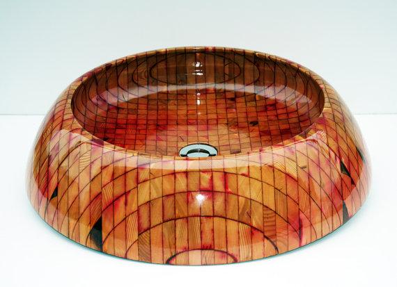Nipigon - Exotic wooden bath vessel sink