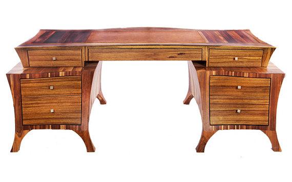Lark - Exotic Walnut Wood Office Desk