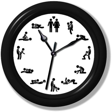 This one really confuses me. It looks like a kitchen clock, but instead of numbers, it has sexual positions from the Karma Sutra. So where exactly do you hang this thing? By Clocks Galore