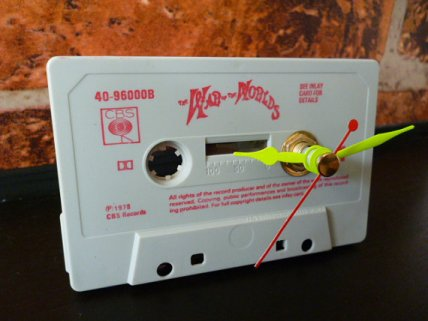 Interesting idea, crap execution. War of the Worlds Cassette Clock by WhenTheMusicsOver