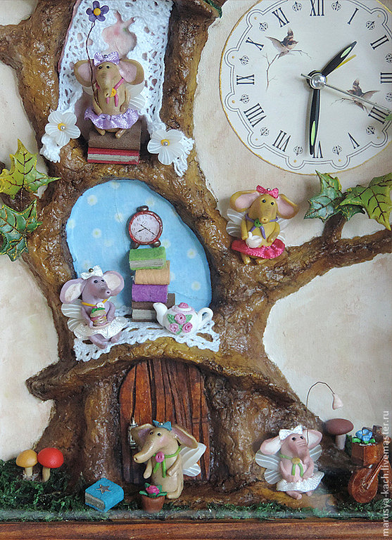 Weird clock with miniature elephants and I don't know what else. By MarusyaKacharizkina