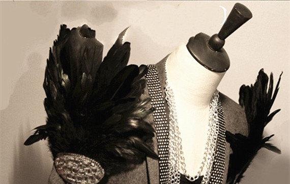 Rhinestone Feather Epaulets