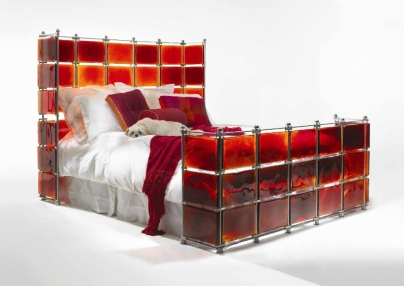 Stainless steel and stained glass bed, which comes in many colors. Yes, please!