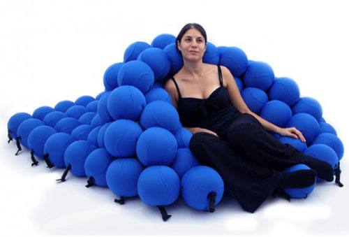 Balls! This bed/seating system is comprised of 120 foam balls which can be configured in a number of ways. At least it's not boring!