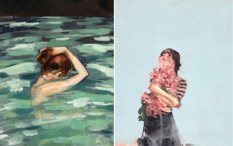 California painter and Etsy seller (!) Clare Elsaesser paints her singular female subjects with their faces turned away or otherwise obscured. While that sounds uncomfortable, the paintings instead feel intimate to me, as if we are observing a loved one unaware of our presence
