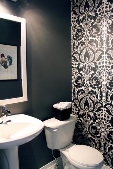 Black and white bathroom by Leclair Decor