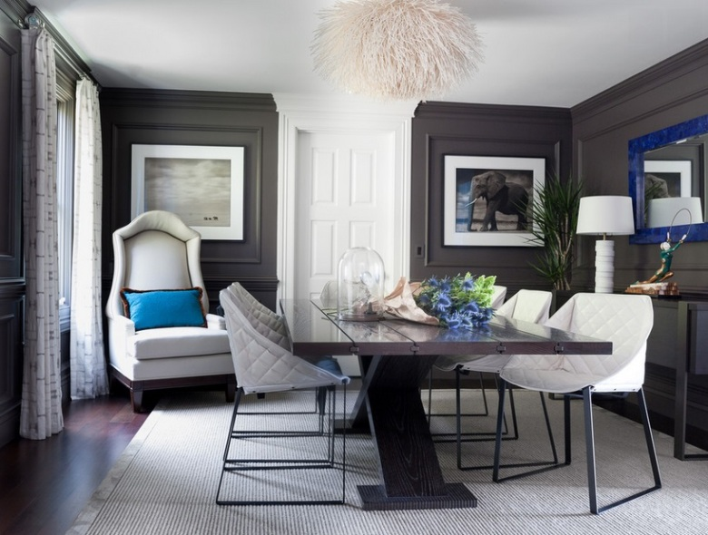 Dark grey white and cobalt blue dining room by Green Couch Interior Design