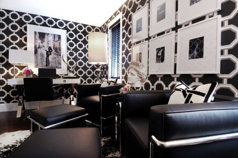 Black and white home office by Atmosphere Interior Design