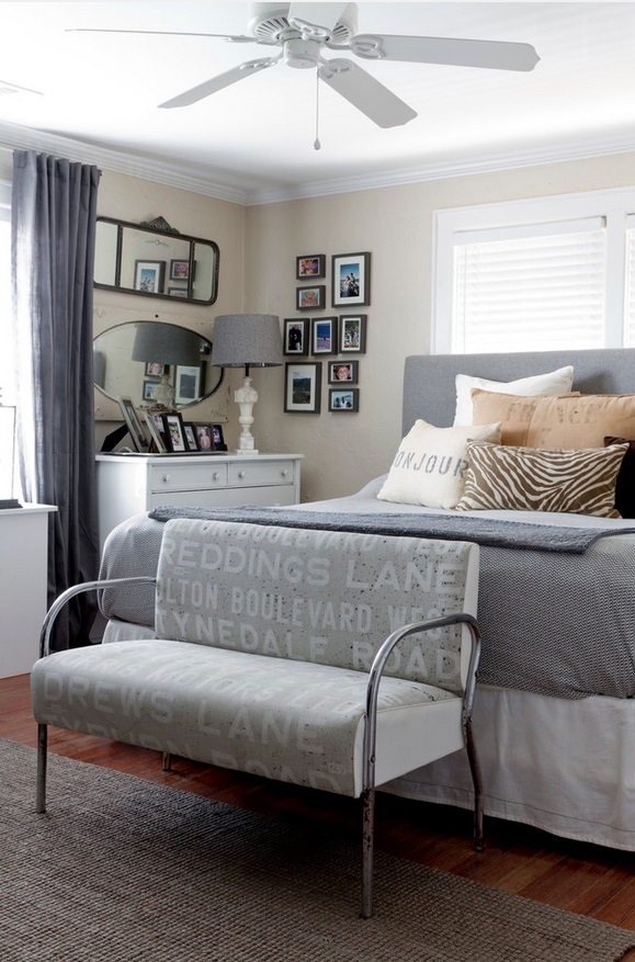Grey and cream bedroom by Rikki Snyder