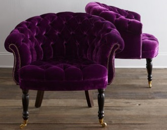 Purple velvet chair by Horchow