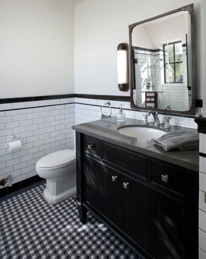 Black and white updated retro bathroom by Vallone Design