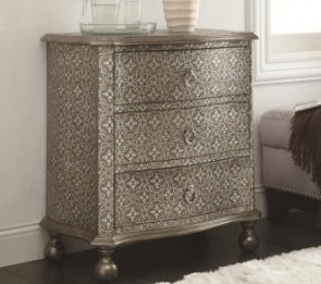 You don't want to overdo damask, but a single accent piece like this chest would be perfect. Sold by MM Furniture