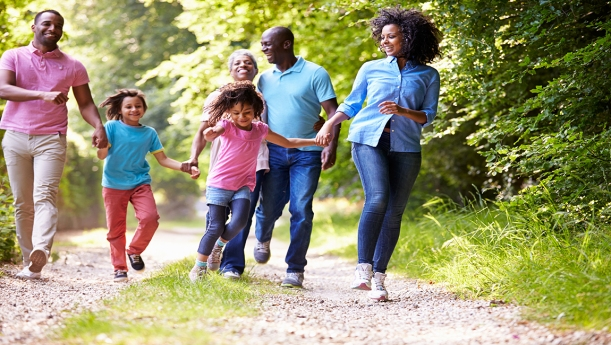 To maintain a healthy lifestyle, the average family should schedule 2-3 jaunty romps through the woods each week. Experienced jaunty-rompers may wish to include tweens and aging in-laws for extra resistance. As always, take appropriate precautions by wearing pastel clothing and smiling like maniacs.