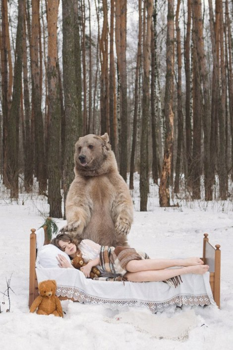 giant brown bear and model by Olga Barantseva