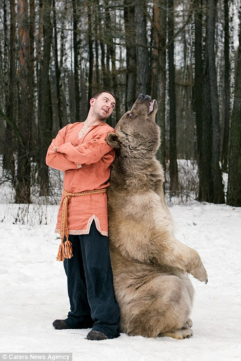 Giant brown bear Stephan with trainer Yury Panteleenko photo by Olga Barantseva