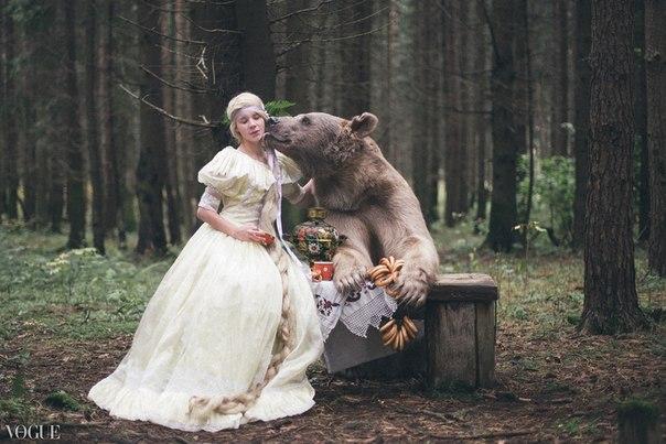 giant brown bear and model by Olga Barantseva
