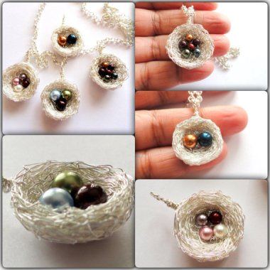 As much as I usually dislike those necklaces with different birthstones for each child, this nest with different colored pearl eggs is actually pretty cool. By MomsMagicJewelry