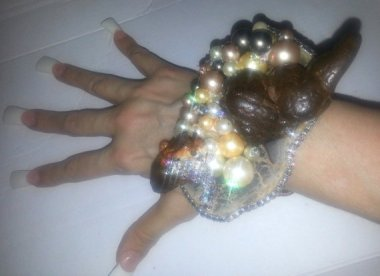 """""""Glamour Turd"""" cuff made from dinosaur poop. Folks you saw it here first. And, presumably, last. By KATROXWEARATTITUDE"""