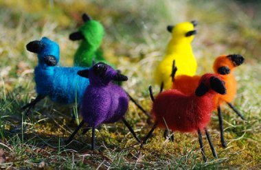 Felted rainbow sheep! By BondurantMountainArt