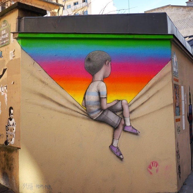 Seth Globepainter's street art features characters staring into multi-colored universes