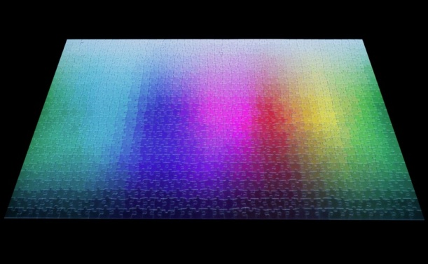 Clemens Habicht's 1,000-piece jigsaw puzzle containing exactly 1,000 different colors arranged in the form of a CMYK gamut is available for pre-order from This Collosal's shop.