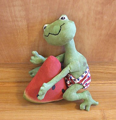 Just another frog wearing a stars and stripes diaper, humping a slice of watermelon. By SkunkHollow
